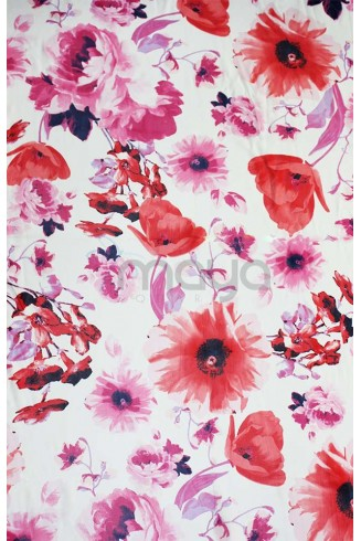 Poppy scarf / white background ,rectangular