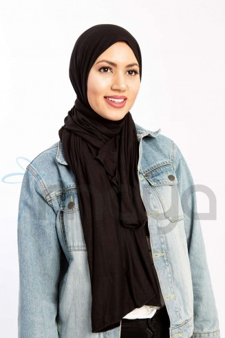 Rectangular cotton scarf, Black